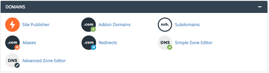 domains section cpanel